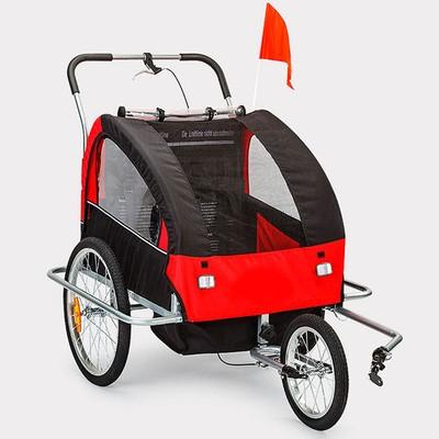 Sykkelvogn/joggevogn med støtdempere - Rød