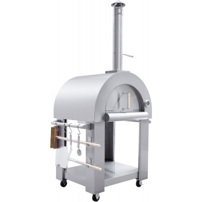 Vedfyrt Pizzaovn Neaple med vogn og redskap - Rustfritt stål