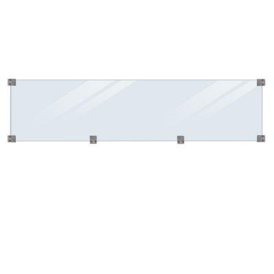 Glassgjerde Herdet inkl. beslag/svart glassliste - lengde 174 cm