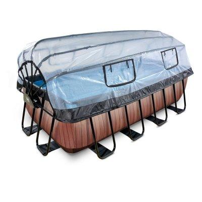 Basseng 400x200x122cm med tak og sandfilter og varmepumpe - Brun
