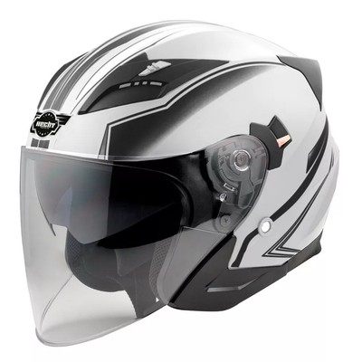 Hjelm til motorsykkel - hvit og svart