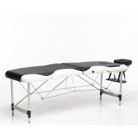 Massasjebord med metallben - 2 soner - svart/hvit