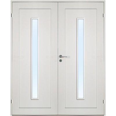 Ulvøya dobbel innerdør - 1-speil - Langt vindu i klarglass - Massiv