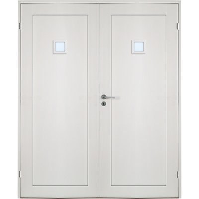 Ulvøya dobbel innerdør - 1-speil - 1 Firkantet klarglass - Massiv